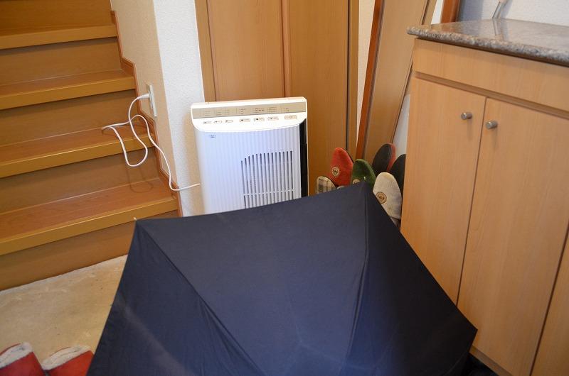 折り畳み傘と一緒に玄関を乾かしてます